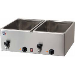 Bain marie double - 2 x GN 1/1 (P) 150 mm + robinet de vidange - 90°C max - inox EQUIPEMENT DIRECT Bains-Marie