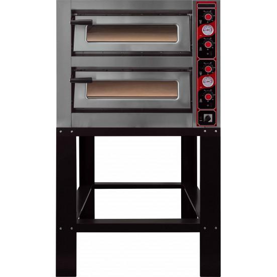 Four électrique 12000 W - 2 x 6 pizza Ø 300 mm - 2 chambres : L 620 x P 920 x H 150 mm - inox