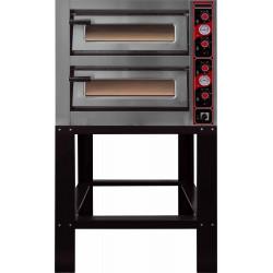 Four électrique 10000 W - 2 x 4 pizza Ø 300 mm - 2 chambres : L 620 x P 620 x H 150 mm - inox