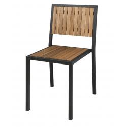 Lot de 4 chaises empilables , H-assise 450 mm, en acier / acacia  BOLERO Gastro Pret
