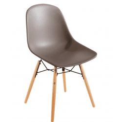 Lot de 2 Chaises moulée PP avec structure métallique Bolero café BOLERO Chaises