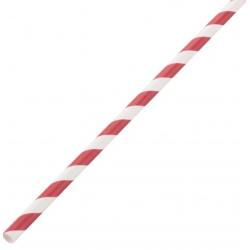 Lot de 250 pailles L 210 mm, en papier rayées rouge & blanc