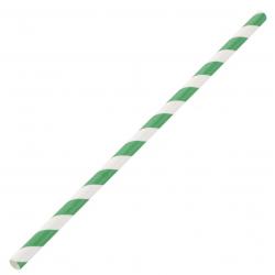 Lot de 250 pailles L 210 mm, en papier rayées vert & blanc