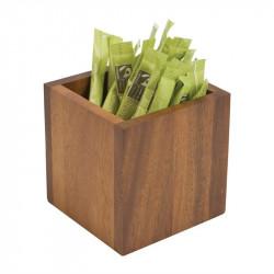Boîte à sachets carrée H 100 x L 100 x P 100 mm - acacia T&G WOODWARE Gastro Pret