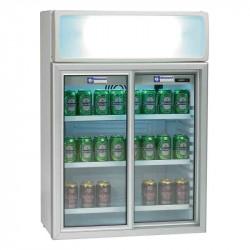 Vitrine 100 litres, portes coulissantes + caisson lumineux DIAMOND Armoires vitrées
