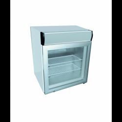 Vitrine de table négative 50 litres, portes coulissantes + caisson lumineux