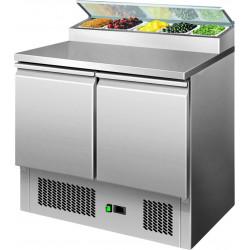 Table réfrigérée 240 litres, 2 portes GN 1/1 + dosseret 5 x GN 1/6 L2G Saladettes
