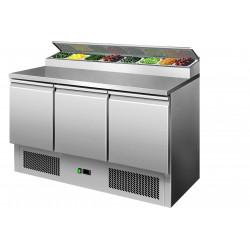 Table réfrigérée 410 litres, 3 portes GN 1/1 + dosseret 8 x GN 1/6 L2G Saladettes