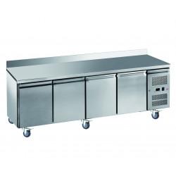 Desserte 616 litres réfrigérée, 4 portes pleines GN 1/1, sur roulettes + dosseret