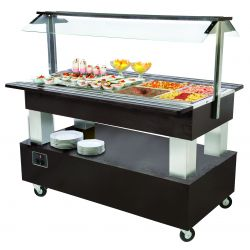 BUFFET CENTRAL MIXTE CHAUD + FROID, 4 X GN 1/1 - SUR ROULETTES ELECTRO BROCHE Buffet libre-service