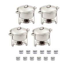 Lot de 4 chafing dish rond + 12 gels OLYMPIA Chafing Dish