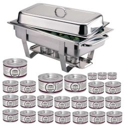 Chafing dish Milan GN 1/1 avec 24 boîtes de gel combustible OLYMPIA Chafing Dish