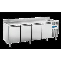 Comptoir 630 litres réfrigéré GN 1/1, 4 portes + evier + dosseret COOL HEAD Tables et soubassements