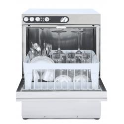 Lave-verres 350 x 350 mm - vidange par gravité + adoucisseur intégré - inox