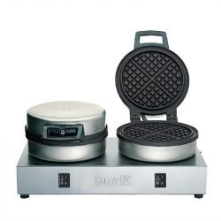 Gaufrier double 1600 W - Ø 152 x ep. 10 mm - 60 gaufres / heures - en fonte - DUALIT 74002
