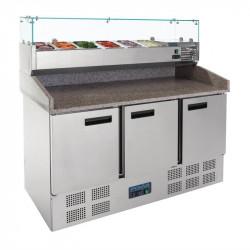 Comptoir de préparation réfrigéré 368 Litres, 3 portes + plan de travail en marbre
