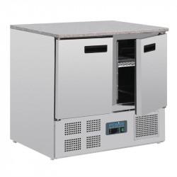 Table réfrigérée positive 6 x GN 1/1, 2 portes  + plan de travail en marbre