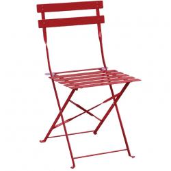 Lot de 2 Chaises de terrasse en acier rouge Bolero