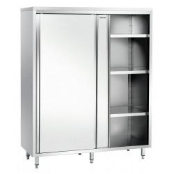 Armoire haute L 1600 x P 700 mm, 2 portes, inox