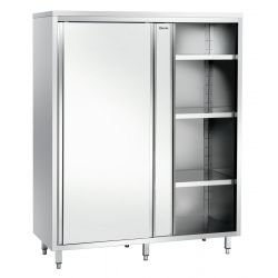 Armoire haute L 1400 x P 700 mm, 2 portes, inox