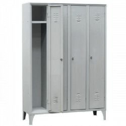 Armoire/vestiaires 4 colonnes, 4 casiers, pour industrie propre, acier EQUIPEMENT DIRECT Casiers / Vestiaires