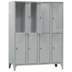 Armoire/Vestiaires 4 colonnes, 8 casiers, acier