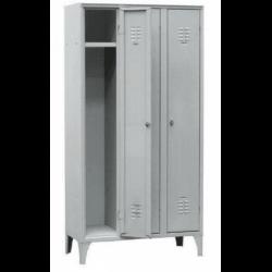 Armoire/vestiaires 3 colonnes, 3 casiers, pour industrie propre, acier