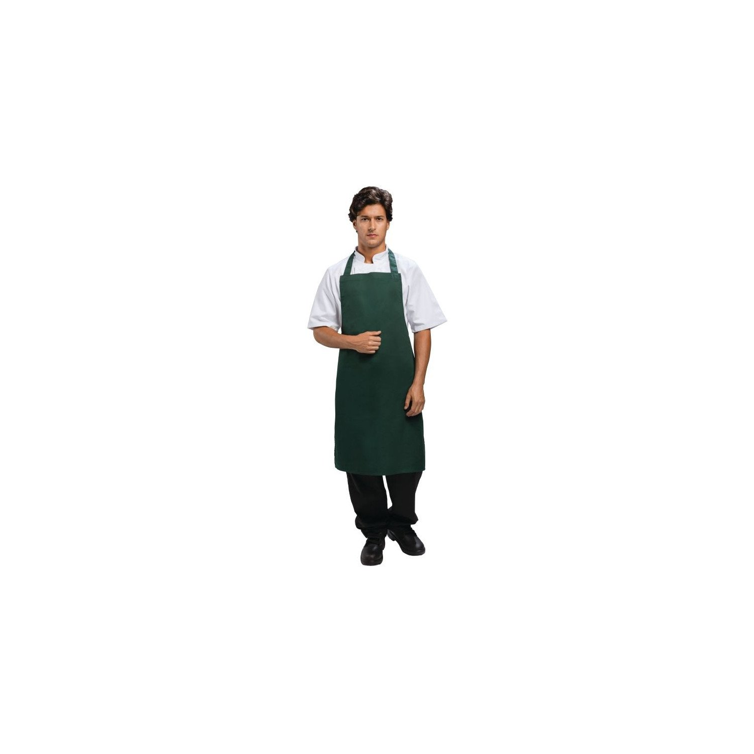 Tablier bavette polyester & coton vert WHITES CHEFS APPAREL Tabliers