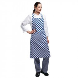 Tablier bavette carreaux bleus & blancs WHITES CHEFS APPAREL Tabliers