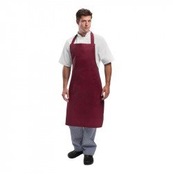 Tablier à bavette polyester & coton bordeaux WHITES CHEFS APPAREL Tabliers