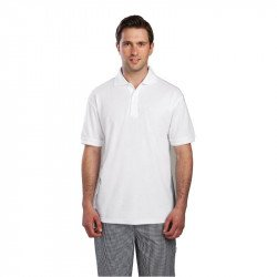 Polo 65% polyester & 35% coton blanc L EQUIPEMENT DIRECT Nisbets Vêtements