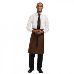 Tablier Bavette Mi-long Marron Chocolat UNIFORM WORKS Tabliers