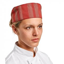 ChefWorks Phoenix Red Satin Stripe Cool Vent Beanie