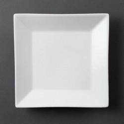 Lot de 6 Assiettes porcelaine carrée blanche 25cm