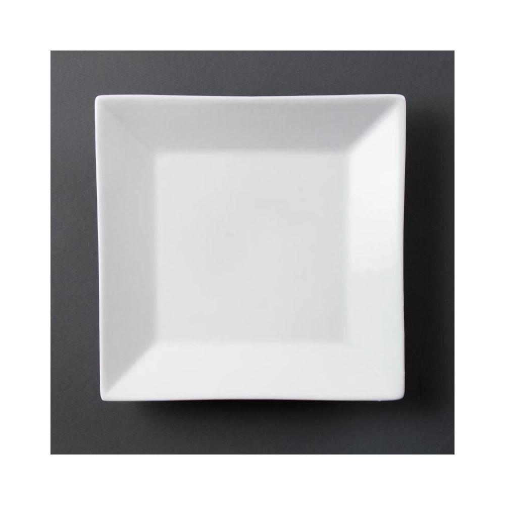 lot de 6 assiettes porcelaine carr e blanche 25cm olympia. Black Bedroom Furniture Sets. Home Design Ideas