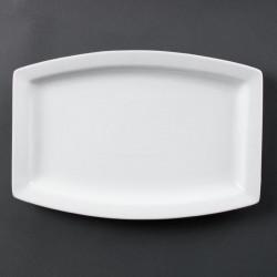 Lot de 6 Assiettes porcelaine rectangulaire blanche 32cm