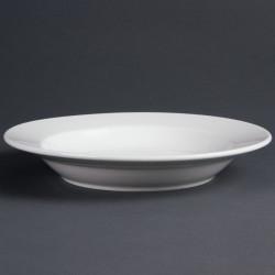 Lot de 6 Assiettes porcelaine creuse blanche 27cm