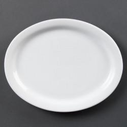 Lot de 6 Whiteware assiettes/plateaux ovale 25cm