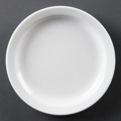 Lot de 12 assiettes Ø 150 mm - à bord étroit - porcelaine