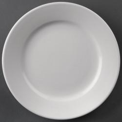 Lot de 12 assiettes Ø165mm à bord large Hotelware porcelaine