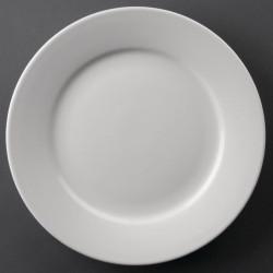 Lot de 12 assiettes Ø228mm à bord large Hotelware porcelaine