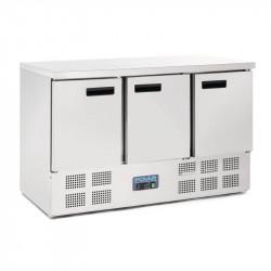 Plan de travail 368 litres réfrigéré, P 700 mm, 3 portes inox