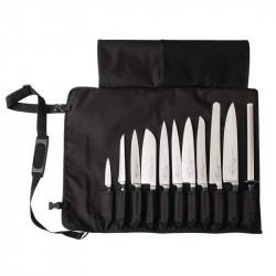 Etui noir à couteaux en tissu 60(L) x 48(l)cm