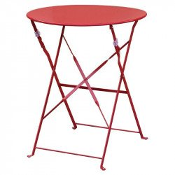 Table de terrasse en acier rouge Bolero (ronde 600mm) BOLERO Tables
