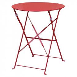 Table de terrasse en acier rouge Bolero (ronde 600mm)