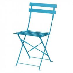 Lot de 2 Chaises de terrasse bleu turquoise en acier Bolero
