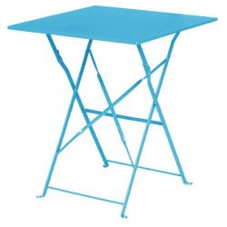 Table de terrasse bleu turquoise en acier Bolero (carree 600mm) BOLERO Tables