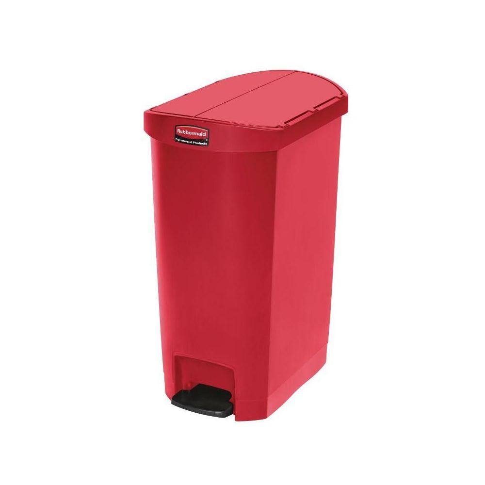 poubelle a pedale laterale slim rubbermaid 50l rouge rubbermaid. Black Bedroom Furniture Sets. Home Design Ideas