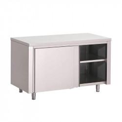 Table armoire avec portes coulissantes P 700 x 850 mm - inox GASTRO M Tables sur placard