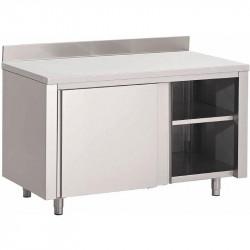 Table armoire inox avec portes coulissantes et étagère supérieure 1000x700x850mm
